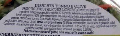 Insalata mista pronta da condire TONNO E OLIVE - Ingredients