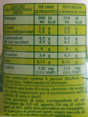 latte microfiltrato biologico parzialmente scremato - Nutrition facts - it