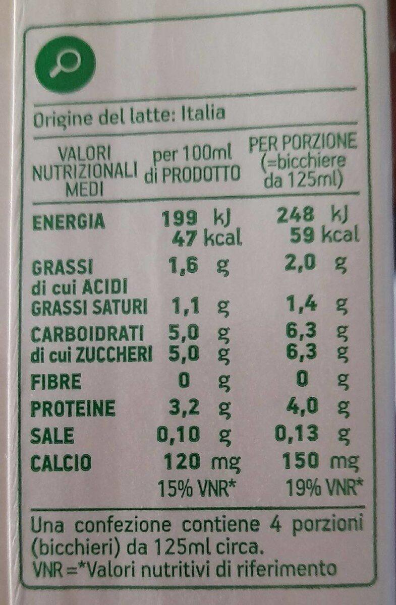 Latte UHT parzialmente scremato - Informations nutritionnelles - it