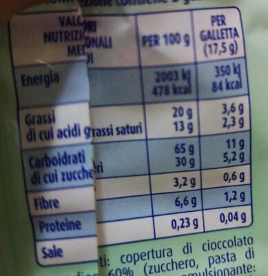 Gallette di riso soffiato con cioccolato fondente - Valori nutrizionali - it