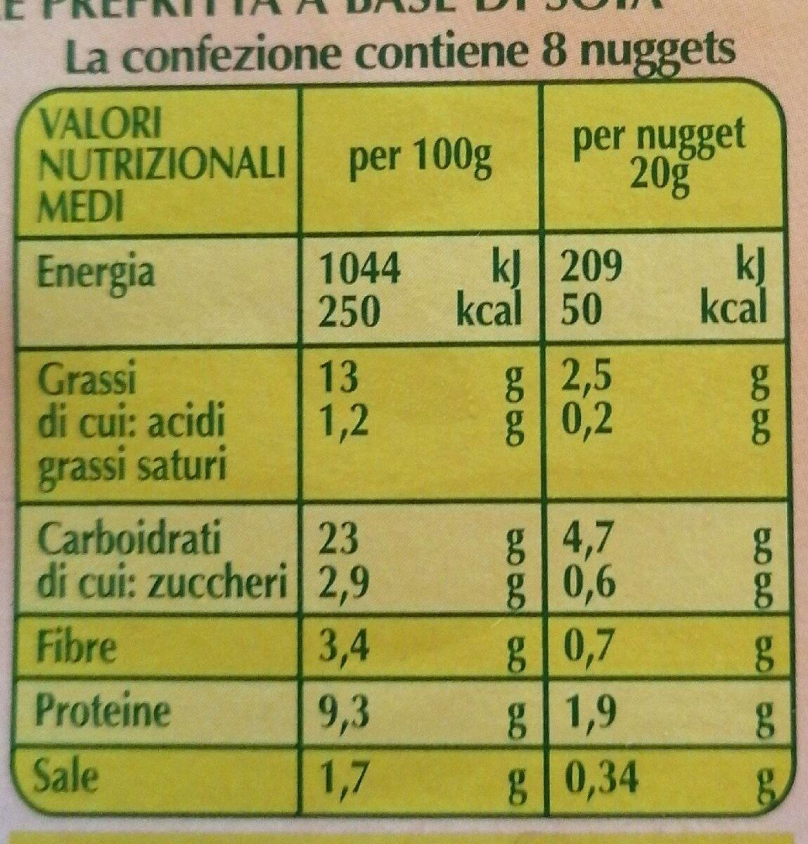 Nuggets vegetali - Nutrition facts - it