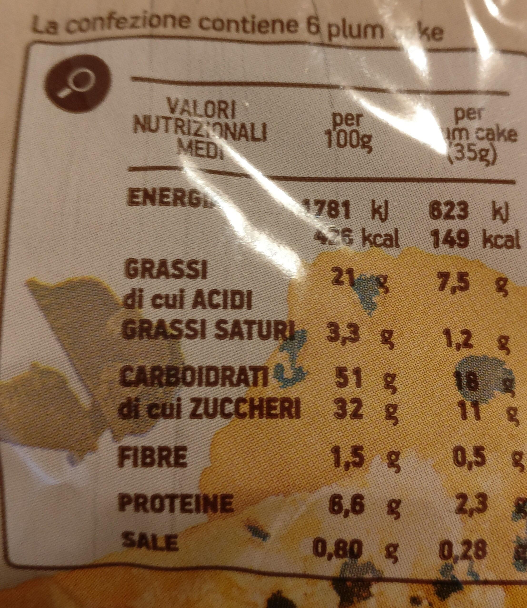 plumcake con gocce di cioccolato Coop - Informazioni nutrizionali - it