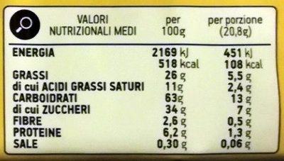 Bastoncini ricoperti di cioccolato al latte - Informazioni nutrizionali - it