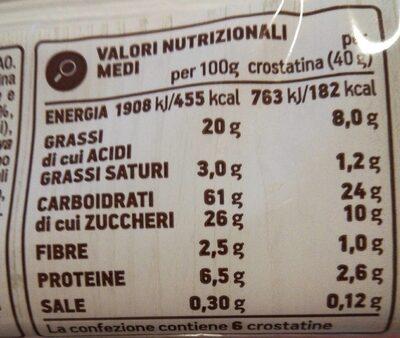 Crostatina con crema al cacao - Nutrition facts - fr