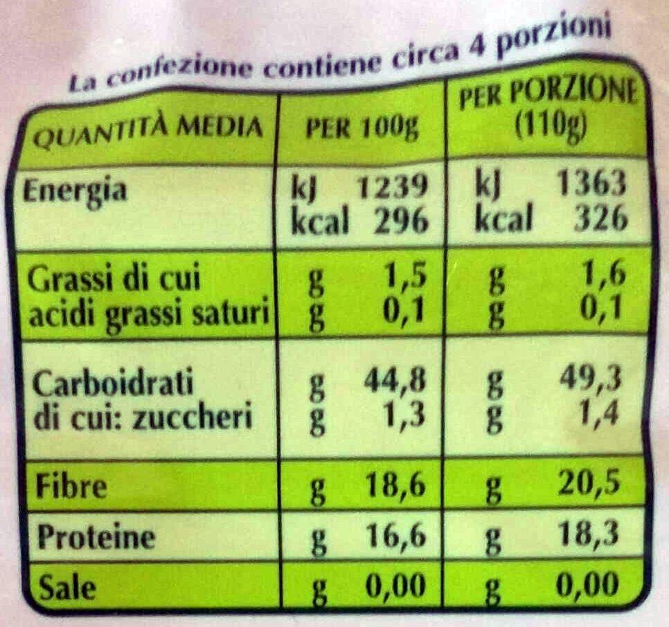 zuppa farro e fagioli Biologica - Informazioni nutrizionali