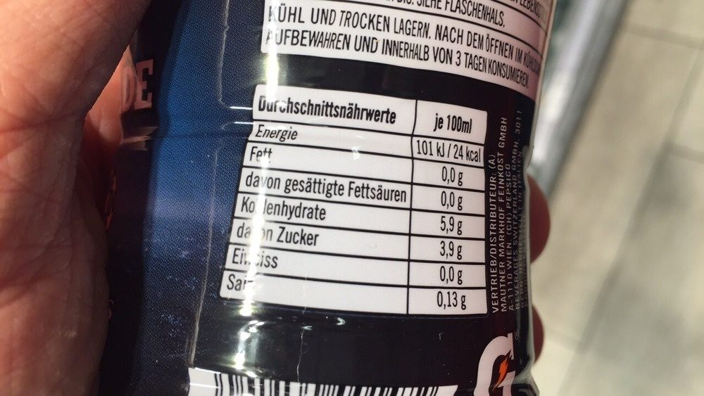 Red Orange flavor - Informations nutritionnelles