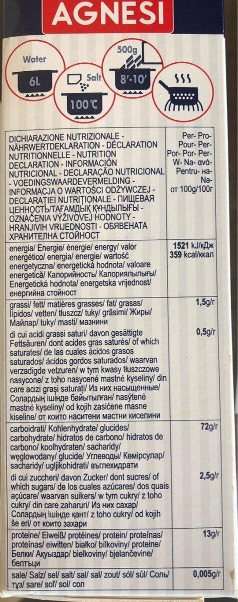 TROFIE LIGURI le Specialitá - Informations nutritionnelles - fr