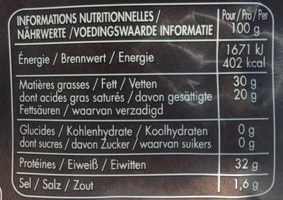 Parmigiano reggiano - Informations nutritionnelles