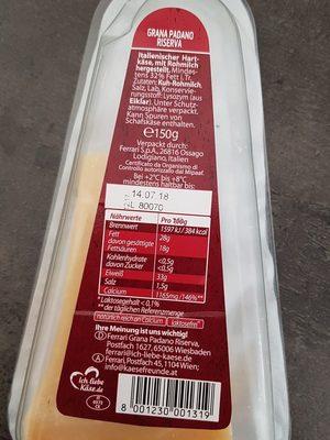Grana Padano Riserva - Inhaltsstoffe