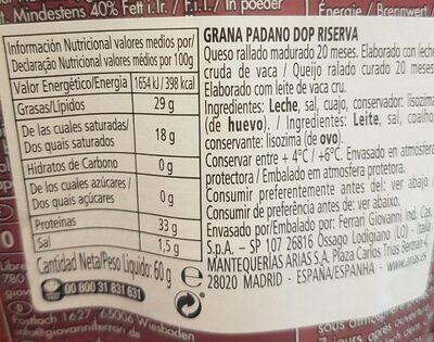 Grana padano - Voedingswaarden - fr