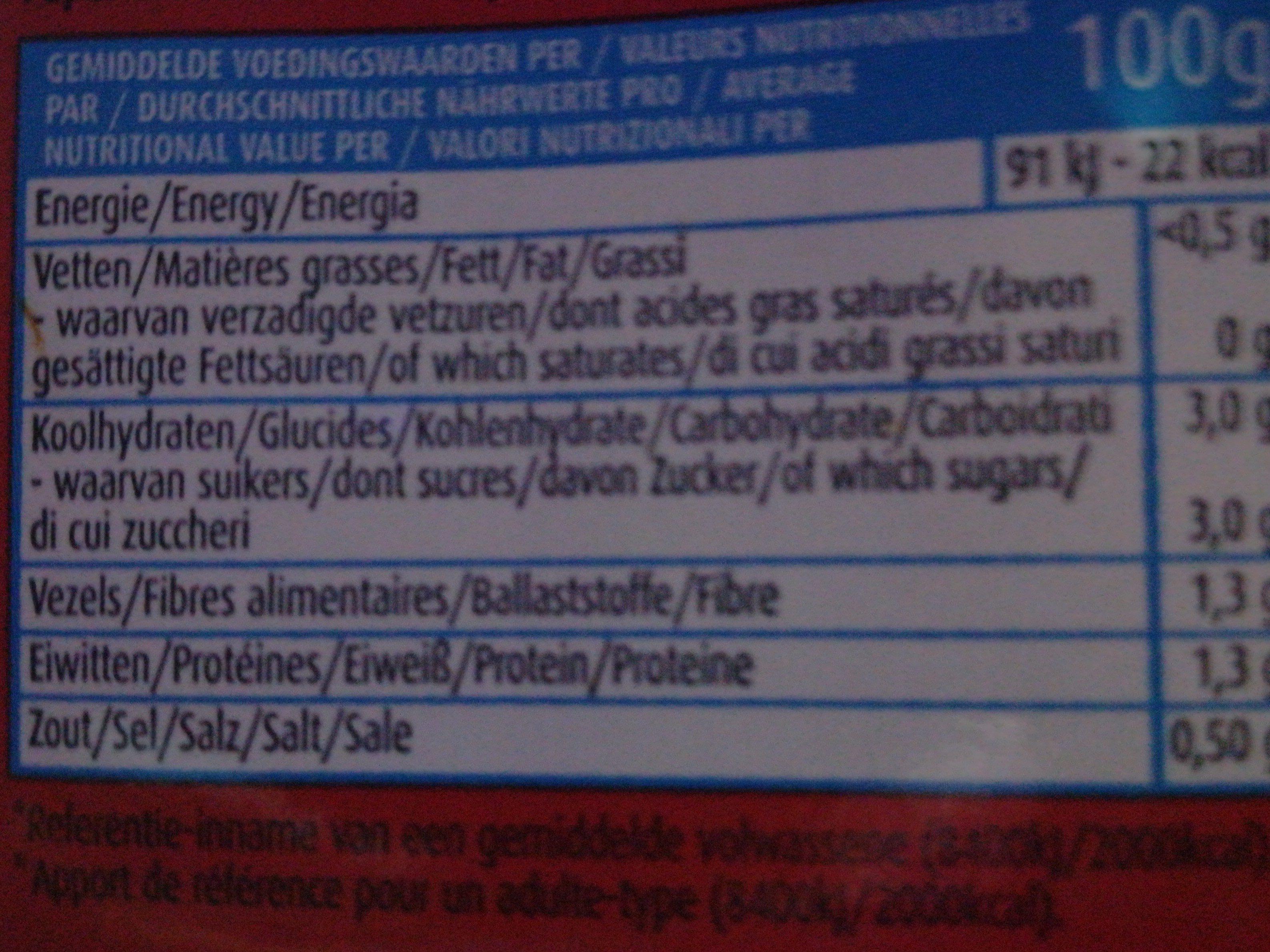 Tomate cube tamisée elvea - Voedingswaarden - fr