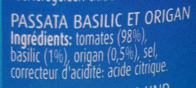 Elvea passata basilic et origan - Ingrediënten