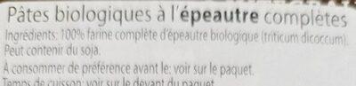 Pâtes bio épeautre completes - Ingrédients - fr