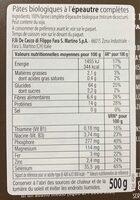 Pâtes bio épeautre completes - Informations nutritionnelles - fr