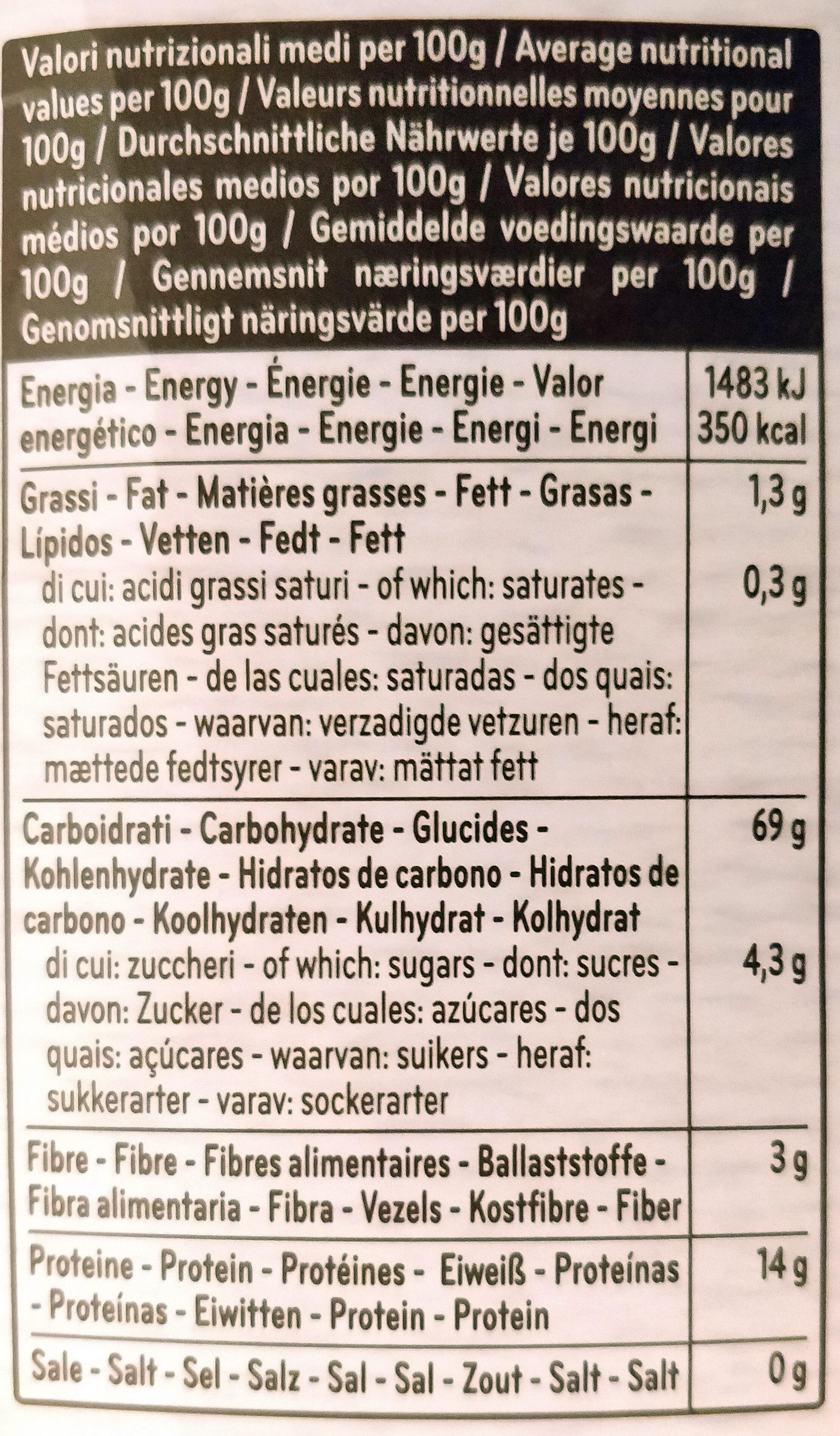 Penne Rigate n°41 Kamut - Informations nutritionnelles