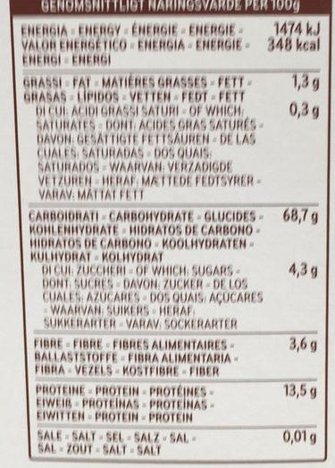 Fusilli n°34 Kamut - Nutrition facts