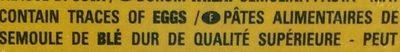 Lasagne - Pâtes Alimentaires De Semoule de Blé Dur - Ingrediënten
