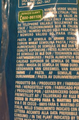 Pasta Fettuccelle - Ingrédients