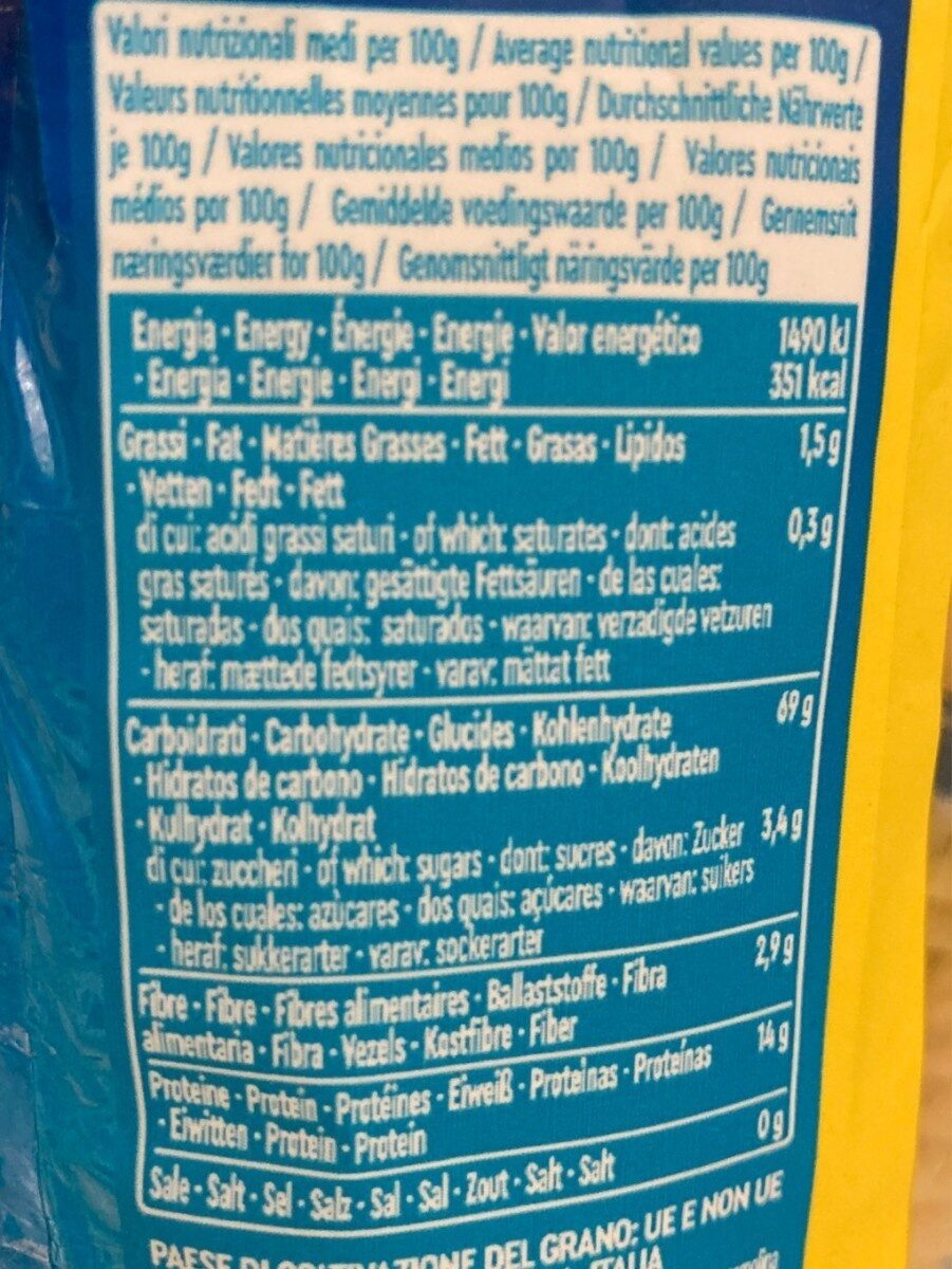 Fusilli - Nutrition facts - fr