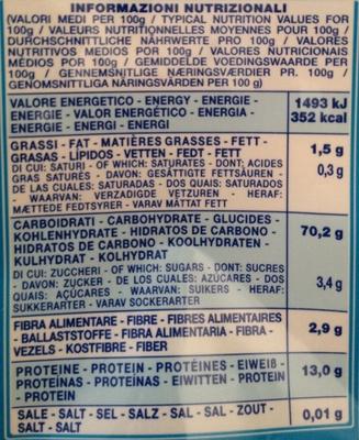 Conchiglioni rigati n°126 - Informations nutritionnelles - fr