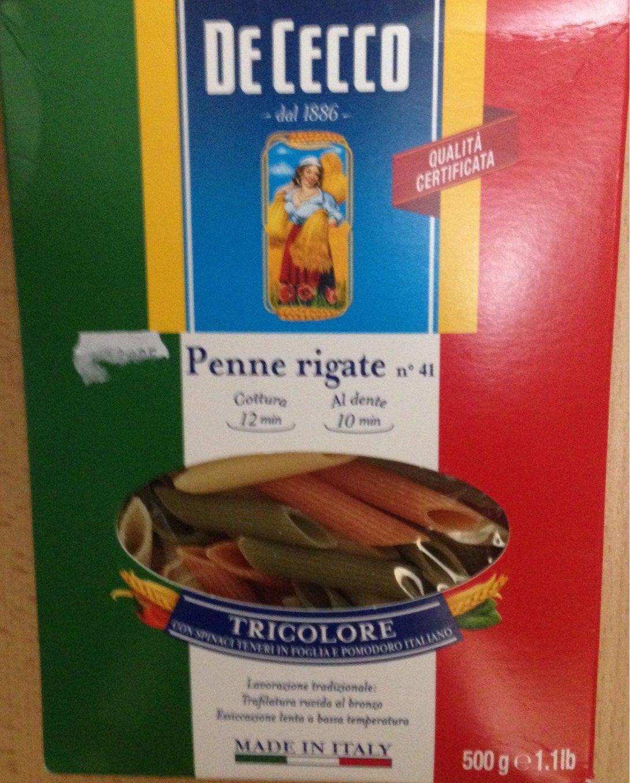 Penne Rigate Tricolore - Pâtes Alimentaires De Semoule De Blé Dur, Pâtes à La Tomates, Pâtes Aux épinards - Informations nutritionnelles
