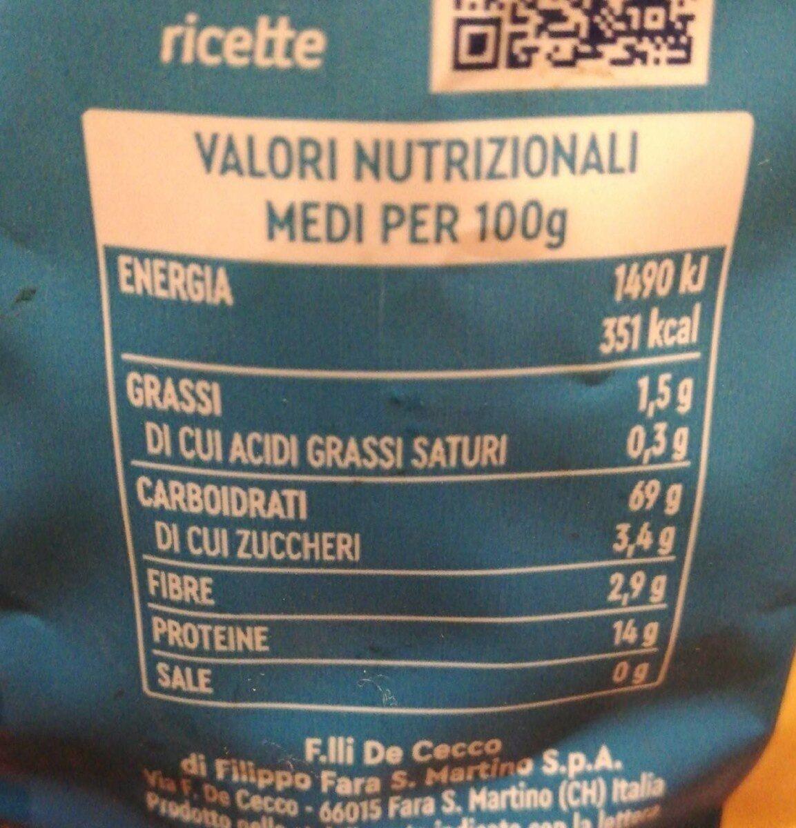 De Cecco Tortiglioni No23 - Informations nutritionnelles - fr