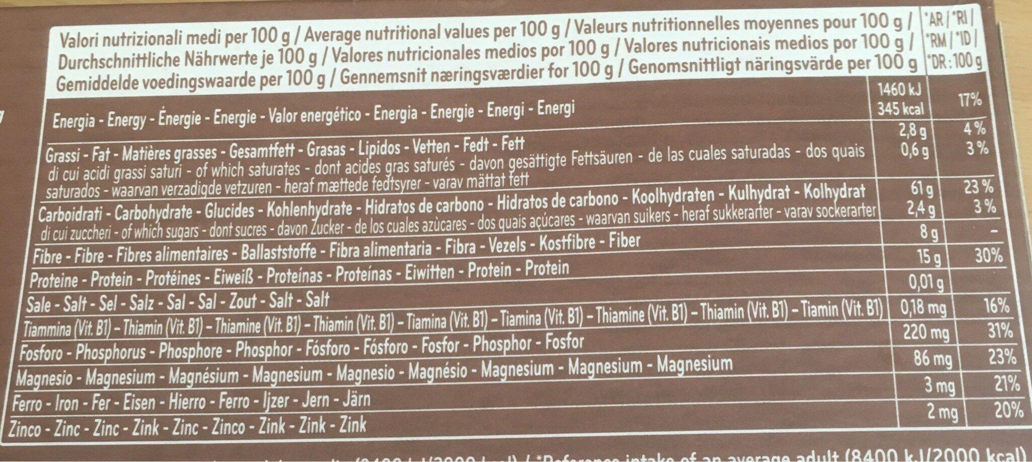Spaghetti 12 integralli - Informació nutricional - it