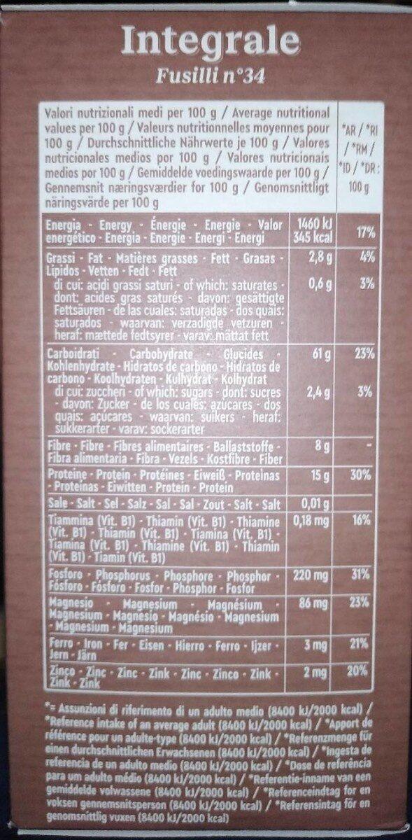 Integrale fusilli n° - Voedingswaarden - fr