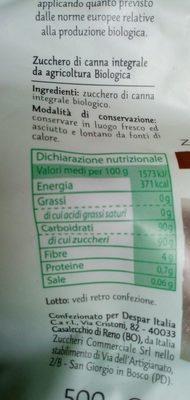 Zucchero Di canna - Ingrediënten - fr