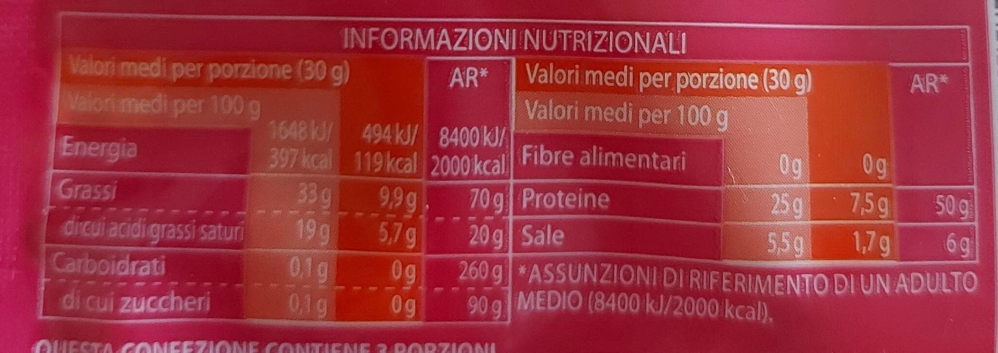Pecorino Romano DOP Grattugiato - Nutrition facts - fr