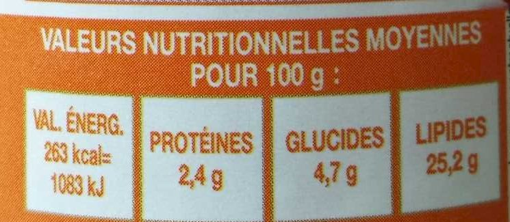 Sauce aux artichauts - Informations nutritionnelles - fr