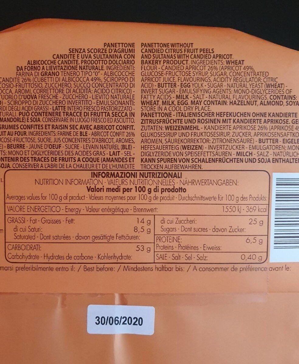 Panettone aux abricots - Informations nutritionnelles - fr