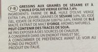 Gressins sesames - Ingredients - fr