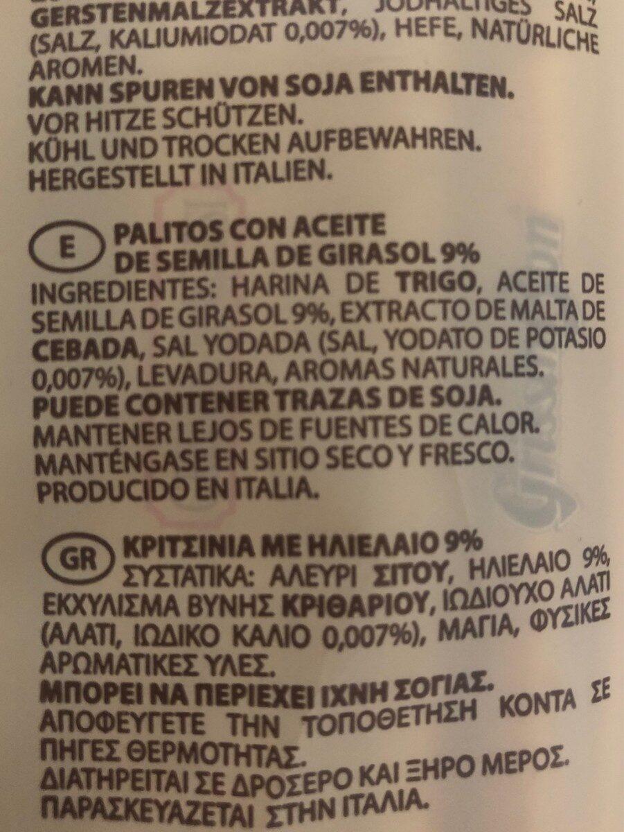 Grissini Torinesi - Ingredientes - fr
