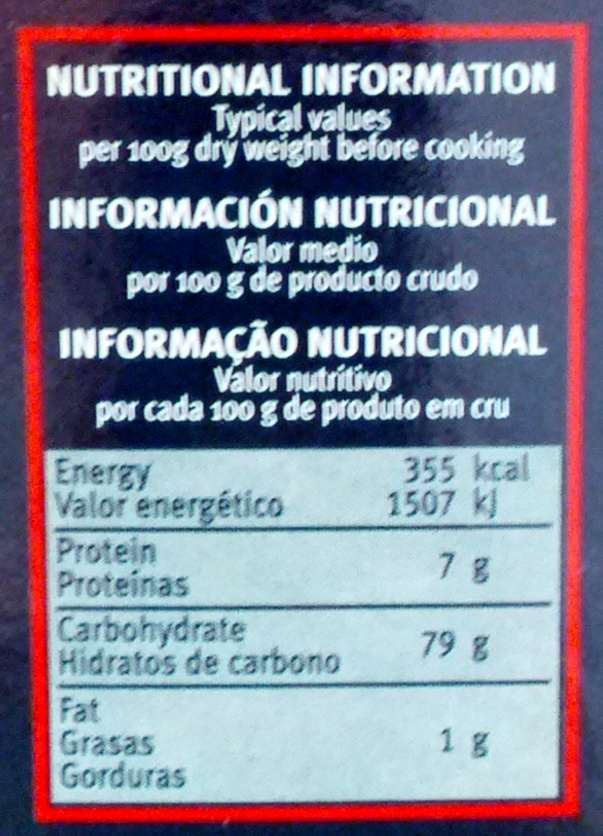 Risotto - Nutrition facts