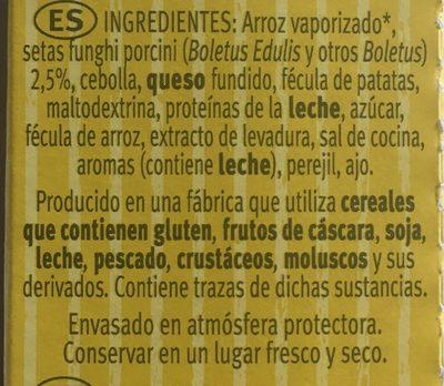Risotto pronto con setas para preparar en 12 minutos envase 175 g - Ingredients