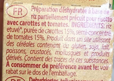 Risottino (riz, carottes, tomates) - Ingredients