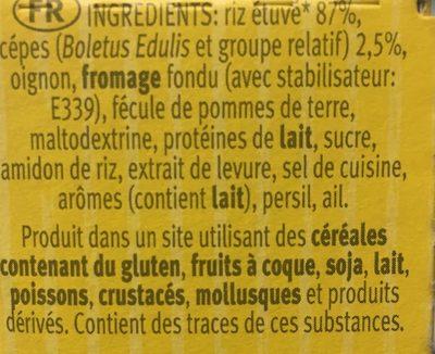 Risotto pronto aux cèpes RISO GALLO, boîte - Ingrédients - fr