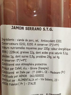 Jamon Serrano 100% naturale - Ingrédients