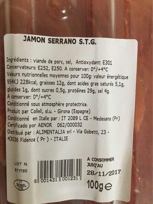 Jamon Serrano 100% naturale - Informations nutritionnelles