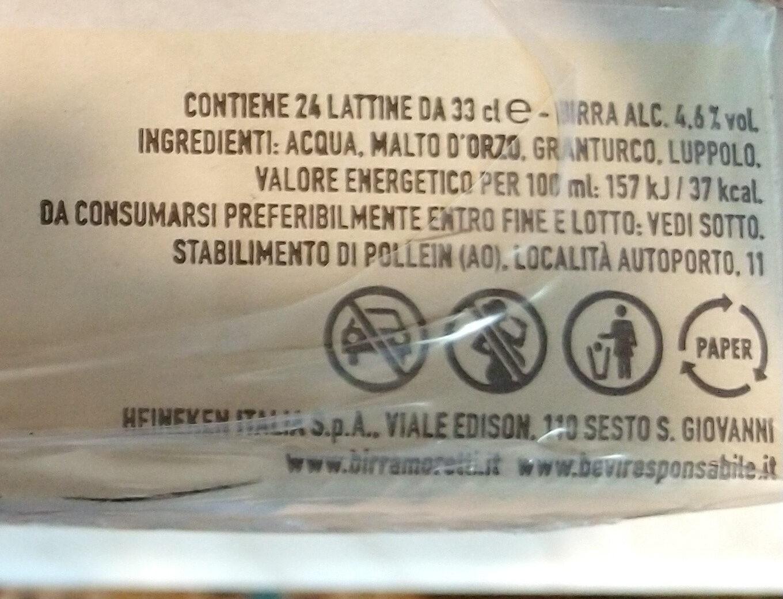 birra - Ingredients - it