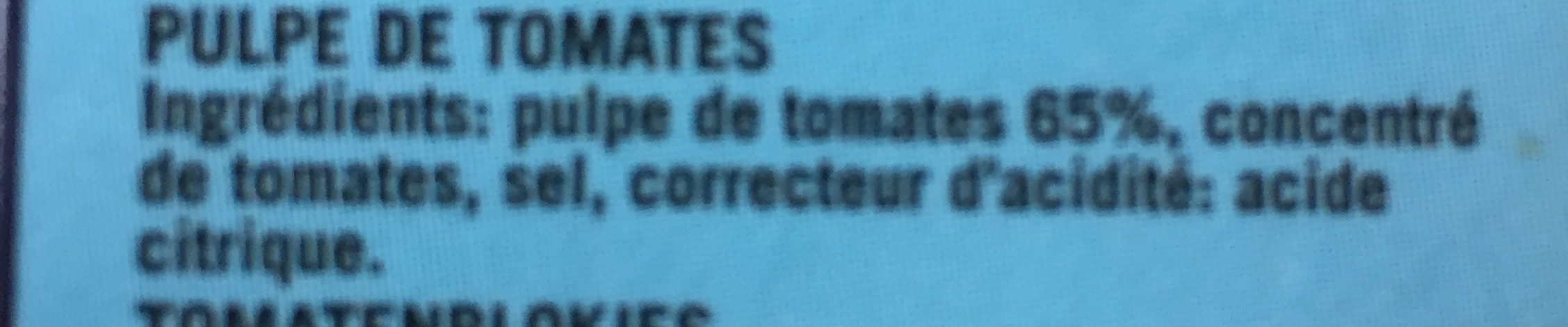 Chopped Tomatoes, Carton 16 X 390G - Ingrédients