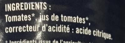 Les Tomates Pelées bio - Ingredients