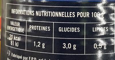 Les Tomates Pelées bio - Nutrition facts