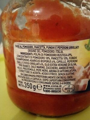 sugo al pomodoro pancetta funghi e peperoni - Ingrédients