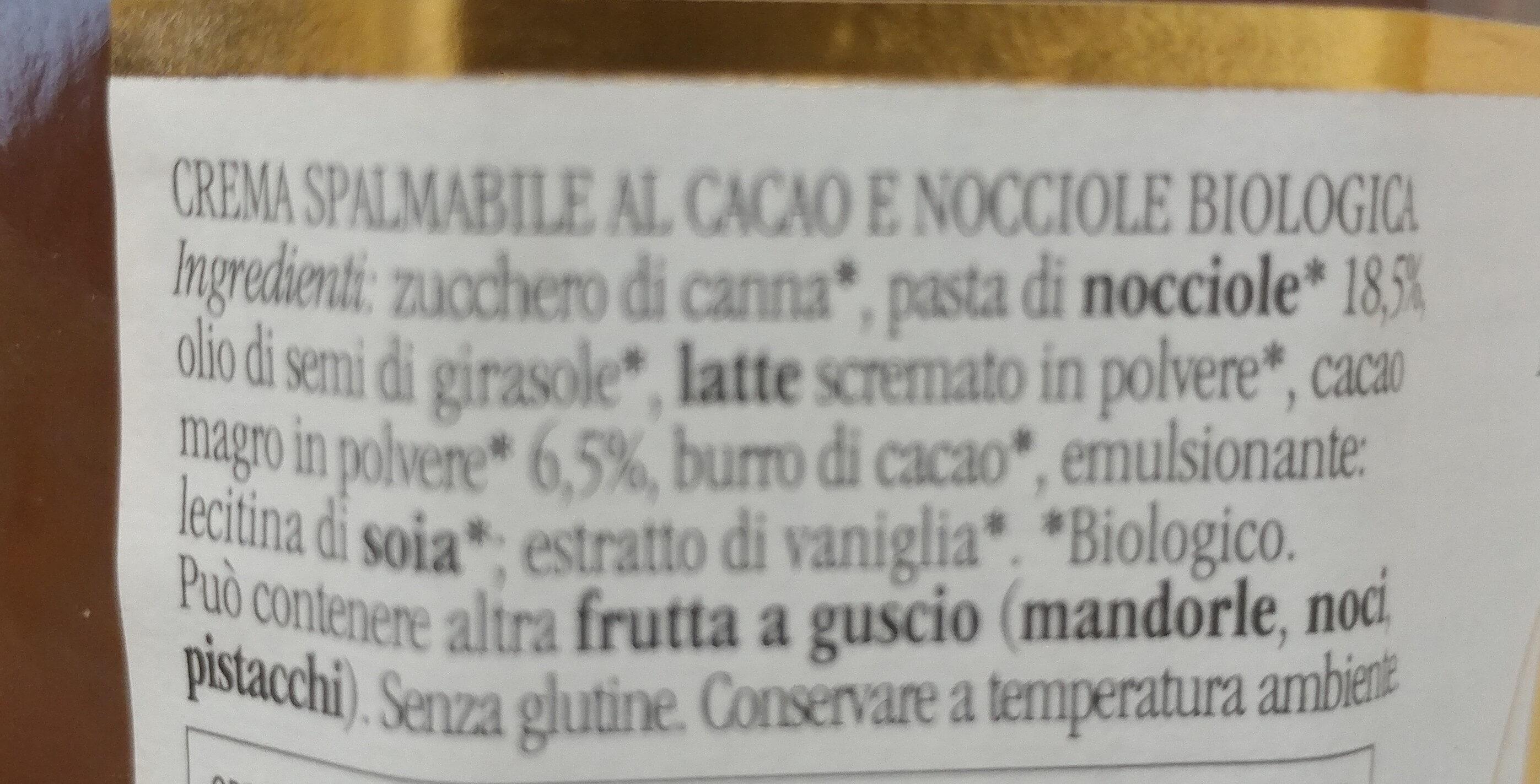 Rigoni Nocciolata crema di cacao e nocciole Prodotto biologico - Ingrediënten - it