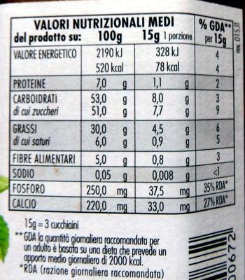 Rigoni Nocciolata crema di cacao e nocciole Prodotto biologico - Informations nutritionnelles