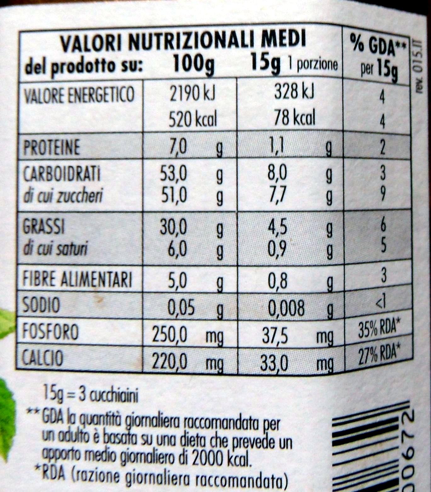 Rigoni Nocciolata crema di cacao e nocciole Prodotto biologico - Voedingswaarden - it
