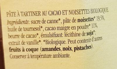 Nocciolata sans lait - Ingrédients - fr