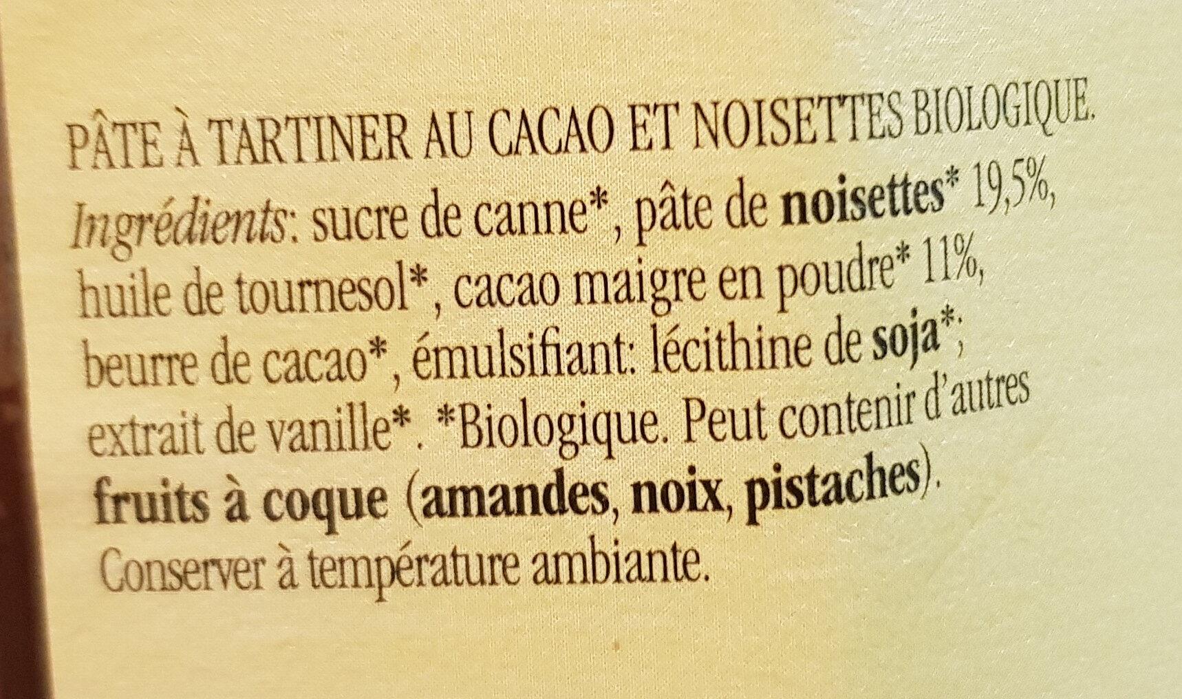 Nocciolata sans lait pâte à tartiner bio - Ingrédients - fr